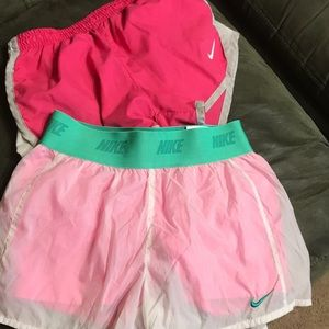 2 pair of girls Nike shorts size small and 6x.